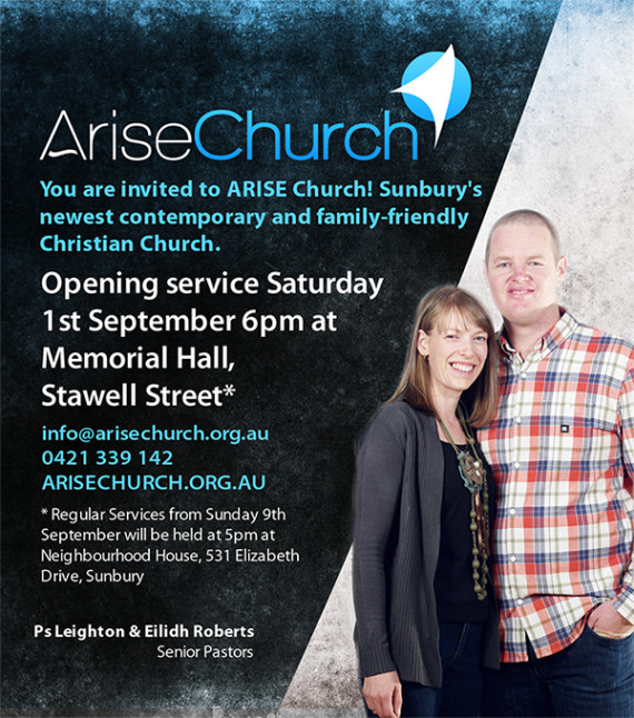 bench_ariseChurch_newspaperAd